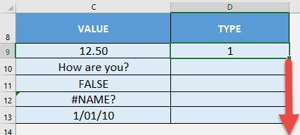TYPE Formula in Excel