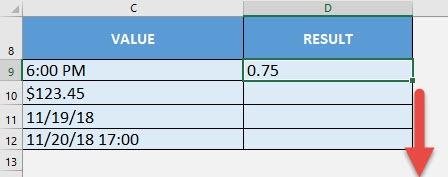 VALUE Formula in Excel