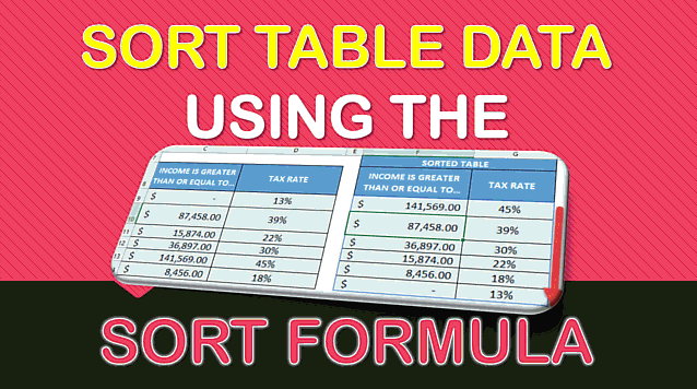 SORT Formula in Excel