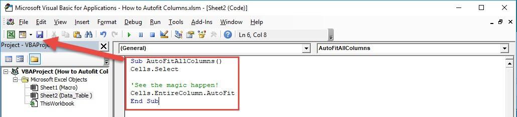 Autofit Columns using Macros