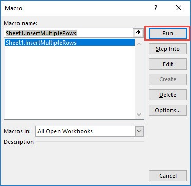 Insert Multiple Rows using Macros