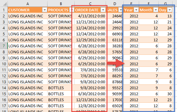 Split the Date in Power Query