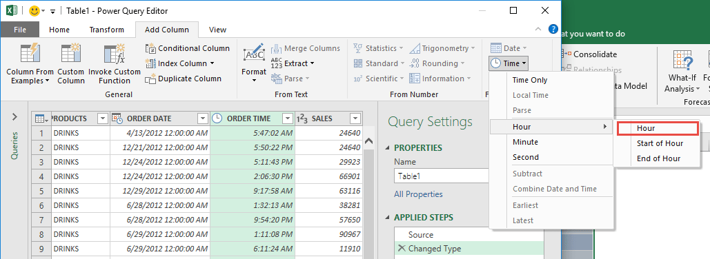 Split the Time in Power Query