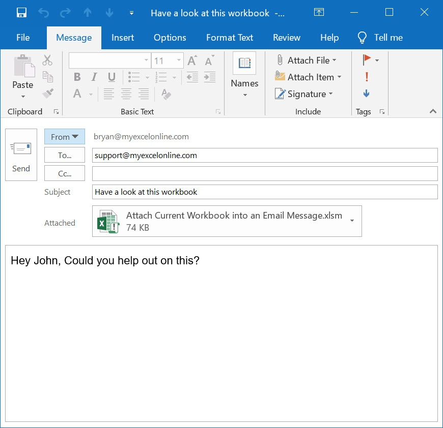Attach Current Workbook into an Email Message Using Macros In Excel | MyExcelOnline