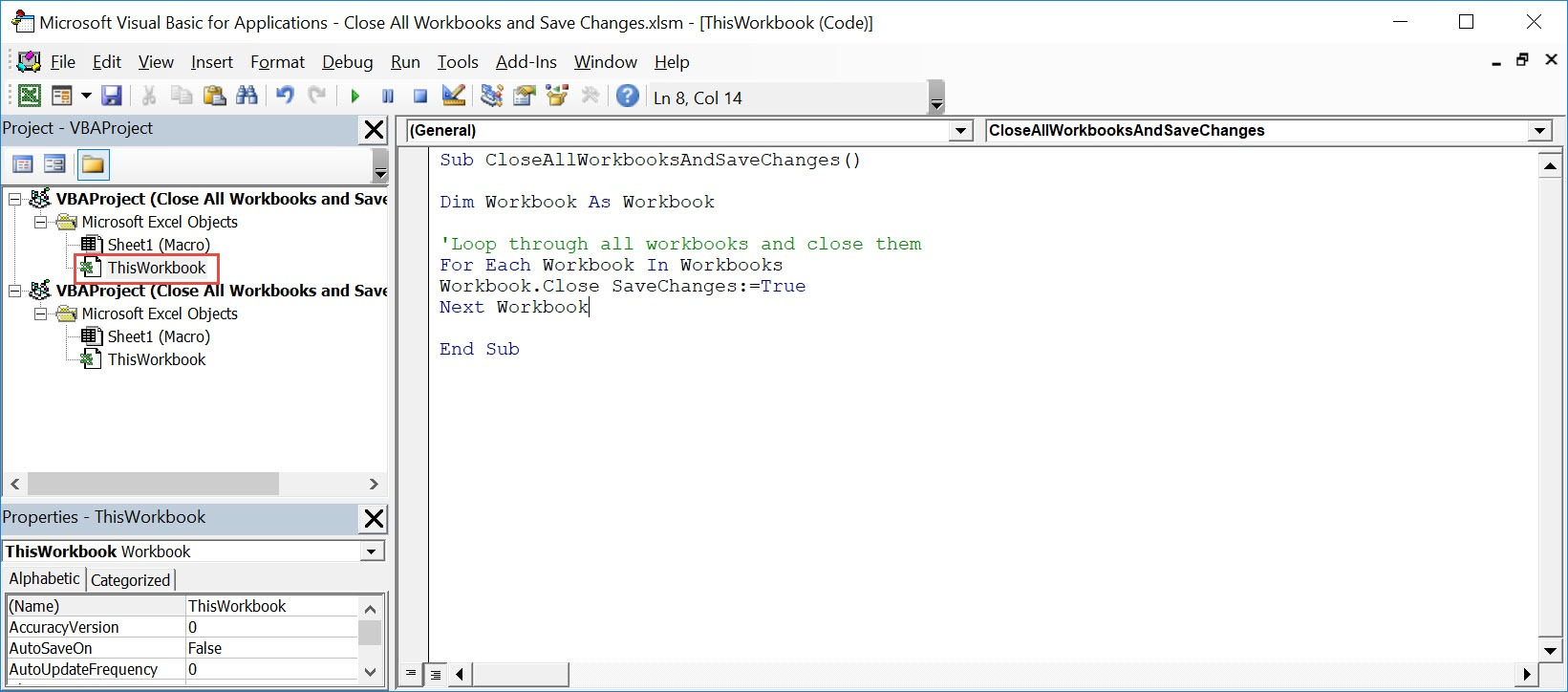 CloseAll Workbooks and Save Changes Using Macros In Excel   MyExcelOnline