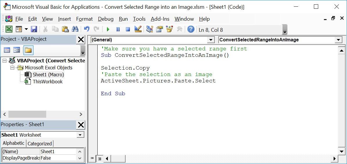Convert Selected Range into an Image Using Macros In Excel | MyExcelOnline