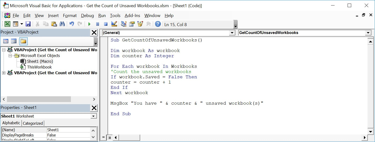 Get the Count of Unsaved Workbooks Using Macros In Excel | MyExcelOnline