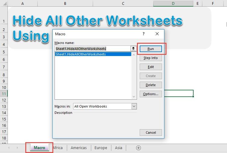 Hide All Other Worksheets Using Macros In Excel | MyExcelOnline
