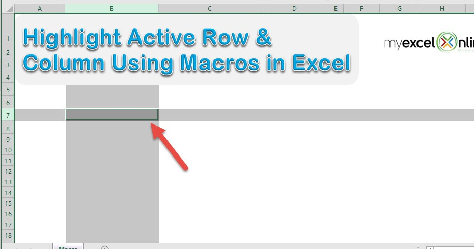 Highlight Active Row & Column by Double Click Using Macros In Excel   MyExcelOnline