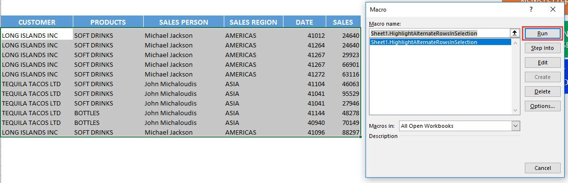 Highlight Alternate Rows in Selection Using Macros In Excel   MyExcelOnline
