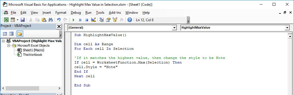 Highlight Max Value in Selection Using Macros In Excel | MyExcelOnline