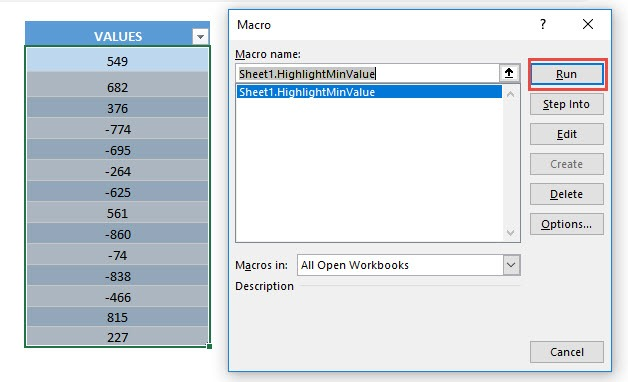 Highlight Min Value in Selection Using Macros In Excel | MyExcelOnline