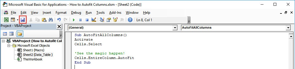 How to Autofit Columns Using Macros in Excel | MyExcelOnline