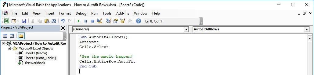 How to Autofit Rows Using Macros in Excel | MyExcelOnline