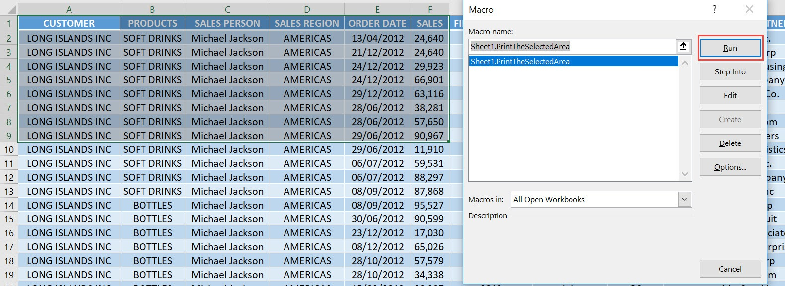 Print the Selected Area Using Macros In Excel | MyExcelOnline