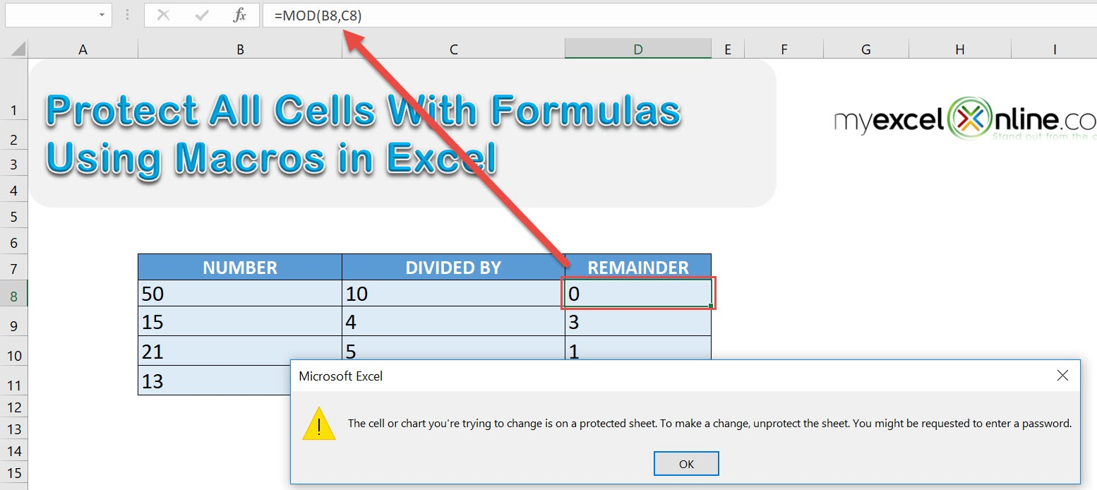 Protect All Cells With Formulas Using Macros In Excel | MyExcelOnline