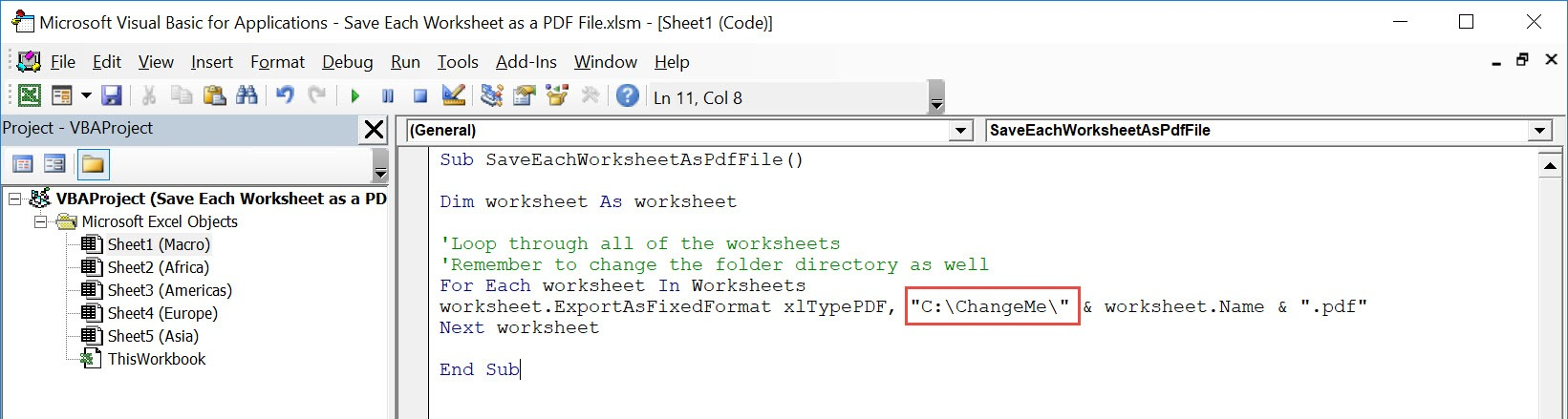 Save Each Worksheet As A Pdf File Using Macros Myexcelonline