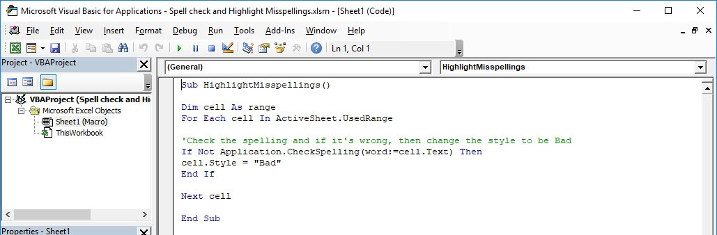 Spell check and Highlight Misspellings Using Macros In Excel | MyExcelOnline