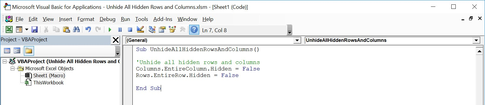 Unhide All Hidden Rows and Columns Using Macros In Excel   MyExcelOnline