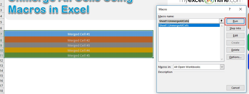 Unmerge Cells using Macros