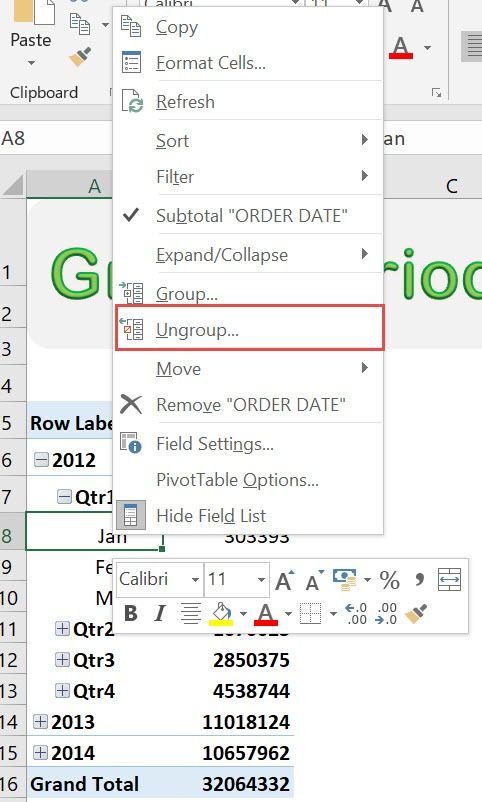 Group Periods in Excel