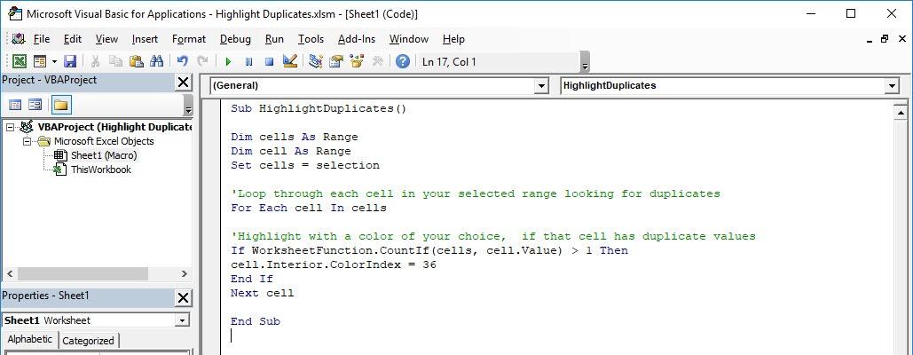 Highlight Duplicates Using Macros | Free Microsoft Excel