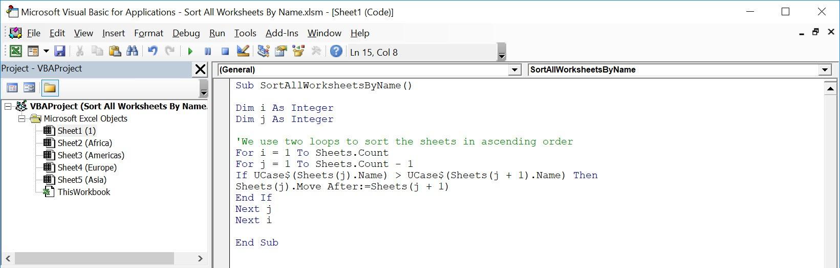 Sort All Worksheets By Name Using Macros In Excel | MyExcelOnline