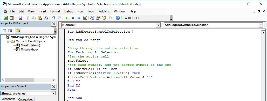 Add a Degree Symbol to Selection Using Macros In Excel | MyExcelOnline
