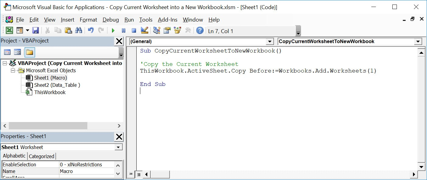 Copy Current Worksheet into a New Workbook Using Macros In Excel | MyExcelOnline