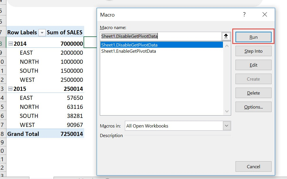 Disable/Enable Get Pivot Data Using Macros In Excel | MyExcelOnline