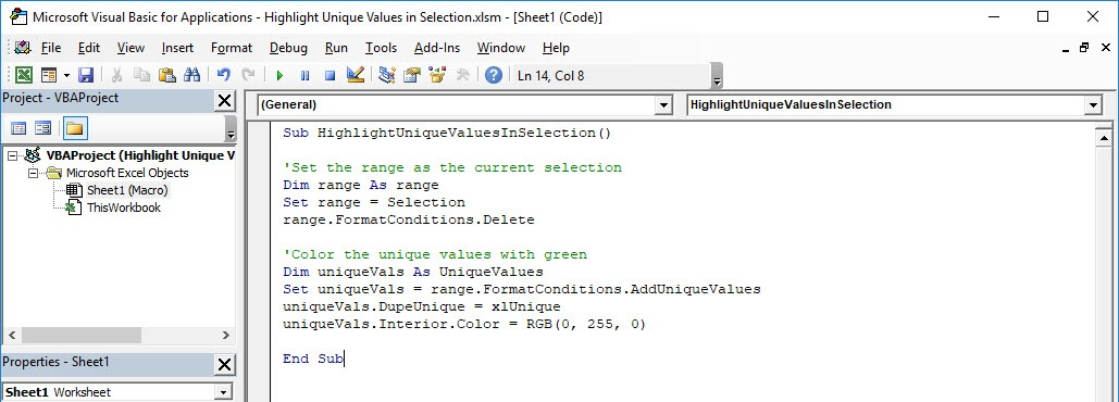 Highlight Unique Values in Selection Using Macros In Excel | MyExcelOnline