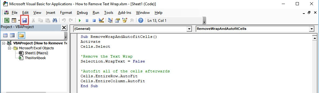 How to Remove Text Wrap Using Macros in Excel | MyExcelOnline