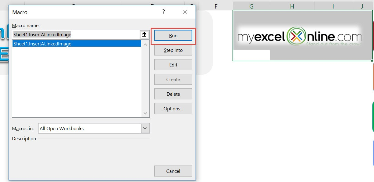 Insert a Linked Image Using Macros In Excel | MyExcelOnline