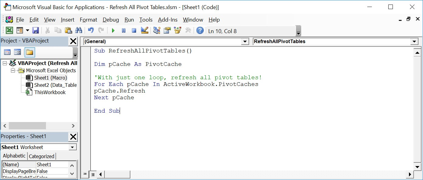 Refresh All Pivot Tables Using Macros In Excel | MyExcelOnline