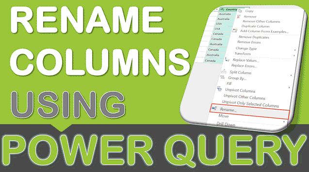 Rename a Column Using Power Query or Get & Transform