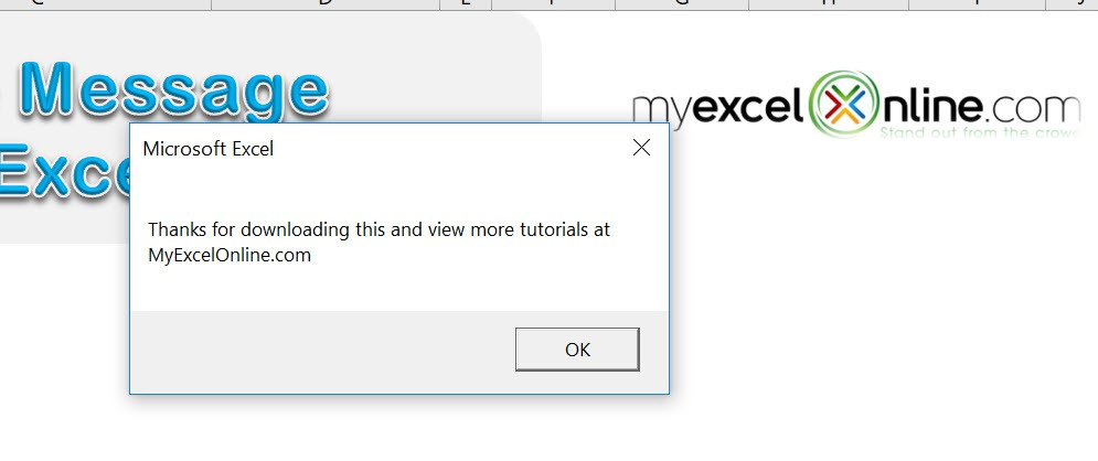 Show a Welcome Message Using Macros In Excel | MyExcelOnline