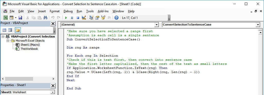 Convert Selection to Sentence Case Using Macros In Excel | MyExcelOnline