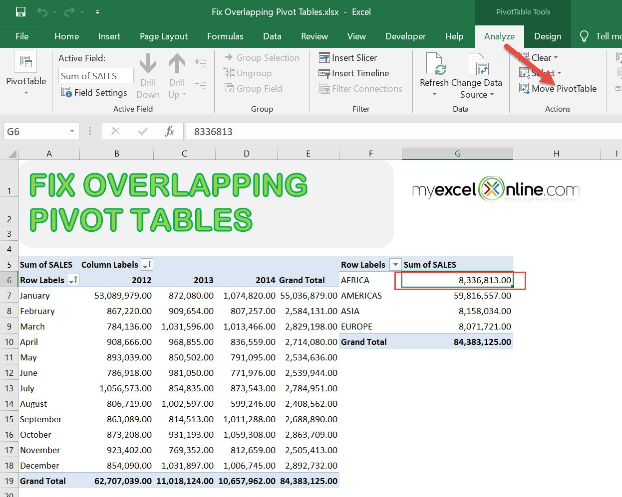 A PivotTable report cannot overlap another PivotTable report - Solution