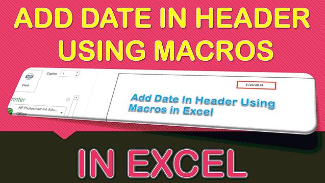 Add Date In Header Using Macros In Excel
