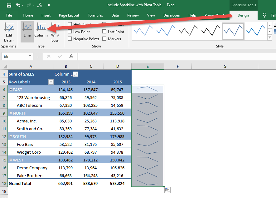 Include Sparkline With Pivot Table