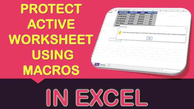 Protect Active Worksheet Using Macros In Excel
