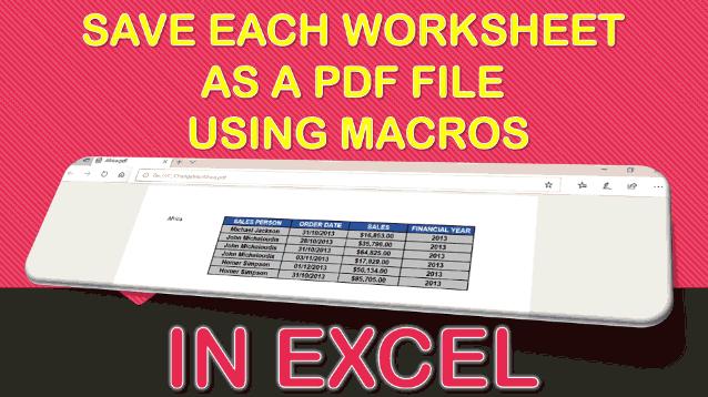 Save Each Worksheet as a PDF File Using Macros In Excel