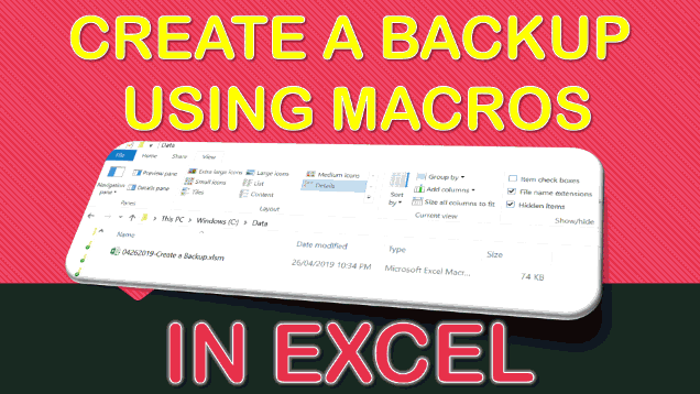 Create a Backup Using Macros In Excel