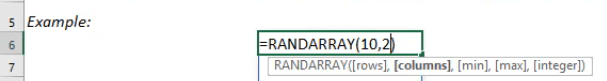 RANDARRAY Formula