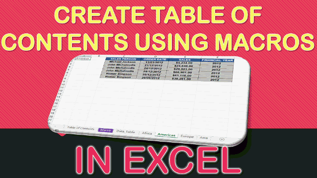 Create a Table of Contents Using Macros In Excel