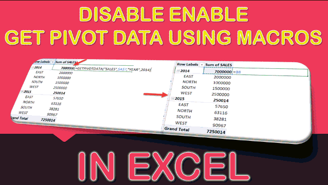 Disable/Enable Get Pivot Data Using Macros In Excel