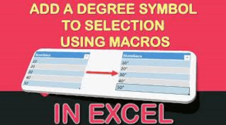 Add a Degree Symbol to Selection Using Macros In Excel