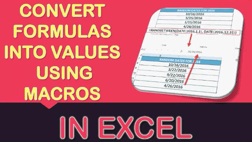 Convert Formulas into Values Using Macros In Excel