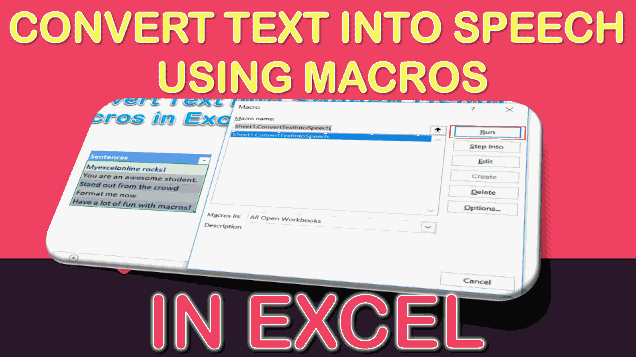 Convert Text into Speech Using Macros In Excel