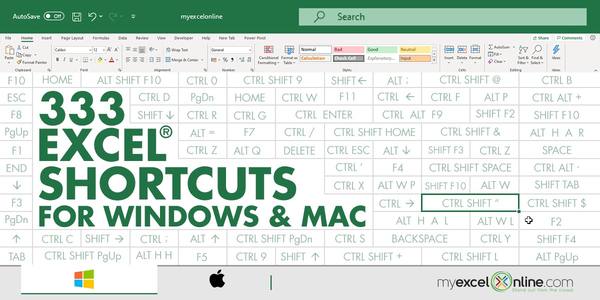 333 Excel Shortcuts for Windows and Mac | MyExcelOnline